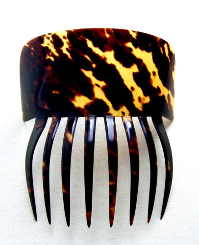 Mid Victorian Spanish style hair comb in celluloid faux tortoiseshell