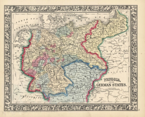 "1863 & 1870  S.A. Mitchell maps ""Prussia & The German States""- TWO Maps"