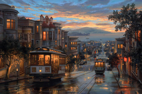San francisco city street Oil painting Giclee Art Printed on canvas L1981