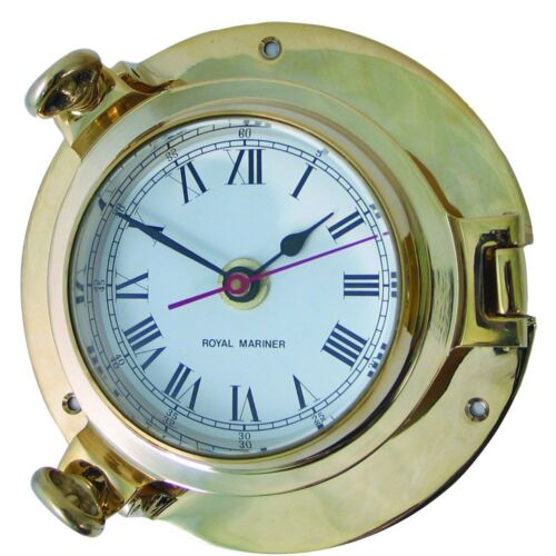 "Clocks & Tide Clocks in cast brass Large 6"" Ships Porthole Style Barometers"