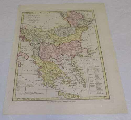 1809 Antique COLOR Map/// TURKEY IN EUROPE