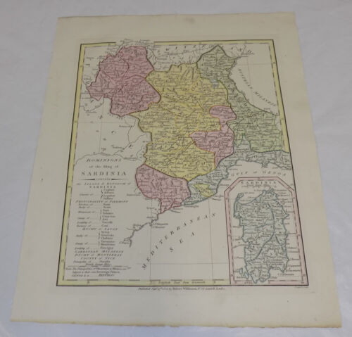 1808 Antique Map///DOMINIONS OF THE KING OF SARDINIA