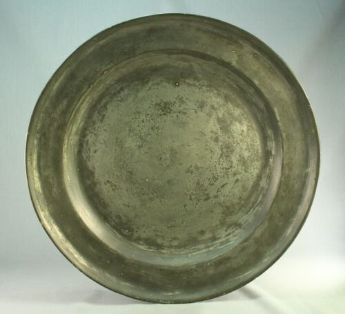 """! Antique 1700's EARLY Pewter 16.5"""" Charger - BARNARD'S INN Tavern Maine (1776)"""