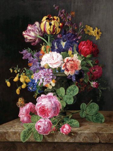 Flowers in a Vase still life Oil Painting Giclee Art Printed on canvas L2105