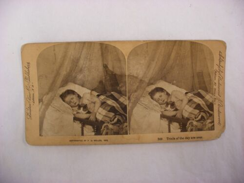 """Antique Steroview Photo - Underwood - """"Trials of the day are over"""" Pet Cat Kitty"""