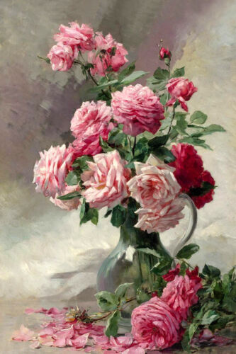 Home decor Still life rose oil Painting Giclee wall Art Printed on canvas L2252