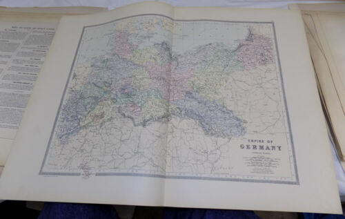 1861 Antique COLOR Map///EMPIRE OF GERMANY, NORTHERN PORTION