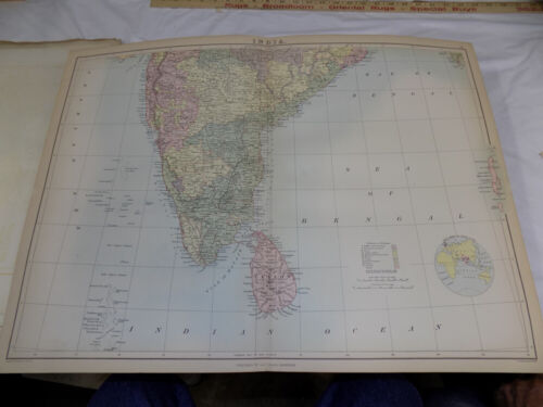 1879 Antique COLOR Map///INDIA (SOUTH SHEET), published by A&C Black