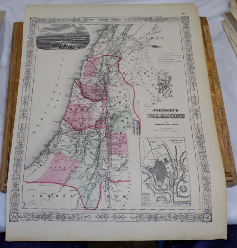1865 Antique COLOR Map///PALESTINE, WITH INSET MAP OF JERUSALEM