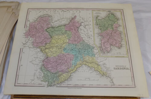 1843 Antique COLOR Map///KINGDOM OF SARDINIA, published by Tanner