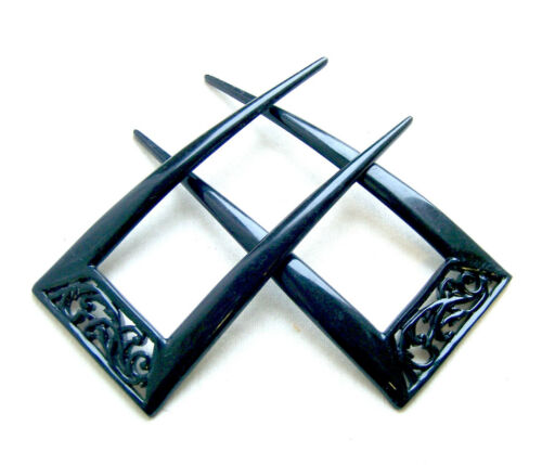 Matched pair Victorian hair combs black celluloid hair ornaments
