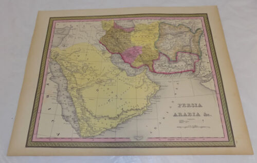 1848 Antique COLOR Map///PERSIA, ARABIA, AND NEARBY COUNTRIES
