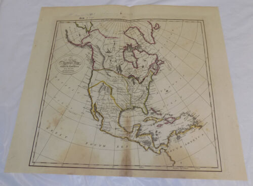 1795 Antique COLOR Map///A NEW AND ACCURATE MAP OF NORTH AMERICA