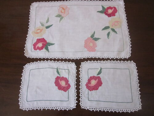 PRETTY HAND EMBROIDERED PINK AND YELLOW ROSES DUCHESS SET