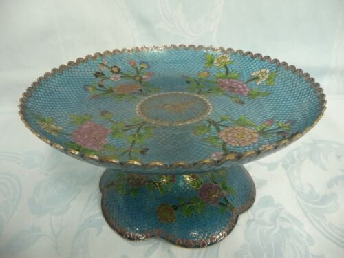 BEAUTIFUL VINTAGE CHINESE PLIQUE-A-JOUR COMPOTE w/FLOWER DESIGN