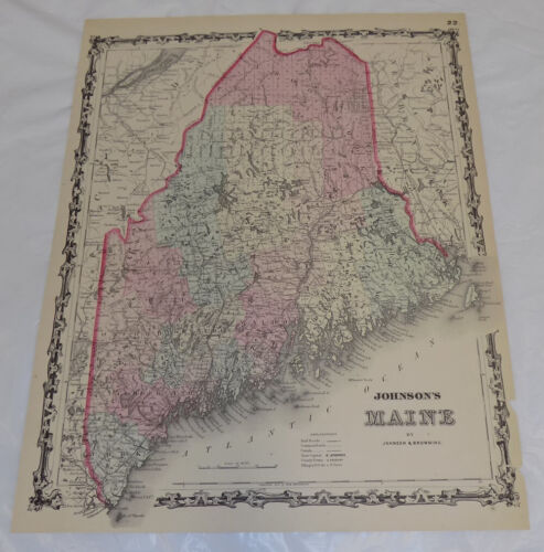 1861 Antique COLOR Johnson & Browning Map of MAINE