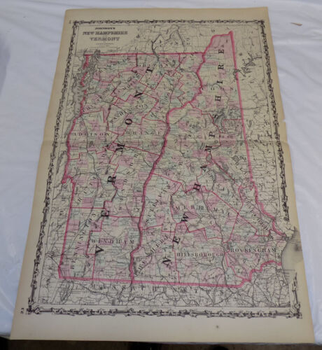 1860 Antique COLOR Large Johnson & Browning Map of NEW HAMPSHIRE & VERMONT