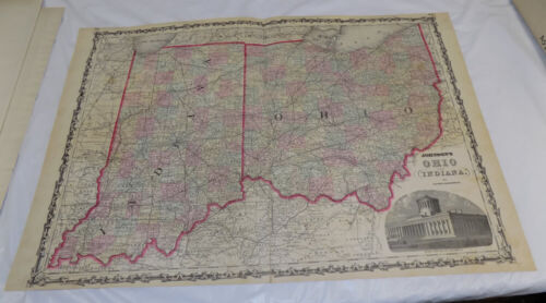 1861 Antique COLOR Johnson & Browning Map of OHIO & INDIANA