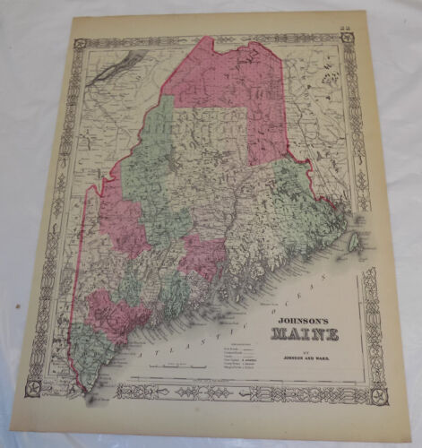 1862 Antique COLOR Johnson & Ward Map of MAINE
