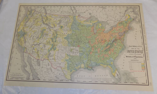 1892 Antique COLOR Rand McNally Map of UNITED STATES, DENSITY OF POPULATION