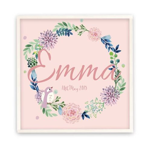 GIRLS BEDROOM DOOR SIGN Wall Plaque Custom Made Bluebell White Personalised 20cm