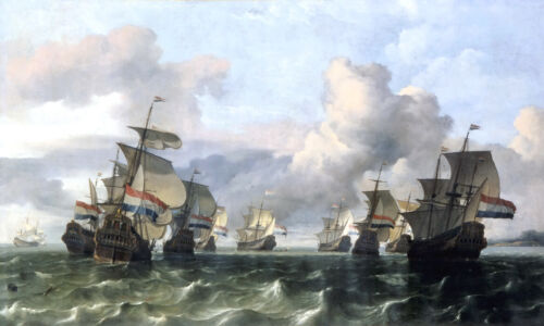 Ships of the Dutch East India Company oil painting art printed on canvas L2383
