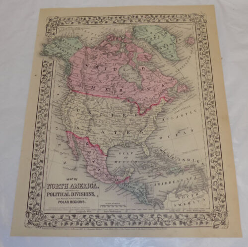 1867 COLOR Mitchell Map of NORTH AMERICA with DANISH AMERICA