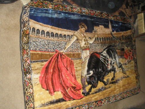 VINTAGE TAPESTRY---BULL FIGHTER --SIX FEET BY FOUR FEET