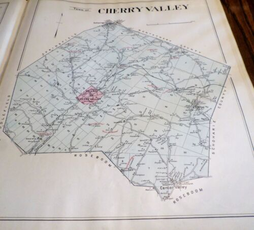 ORIGINAL 1903 MAP TOWN OF CHERRY VALLEY NY OTSEGO CO