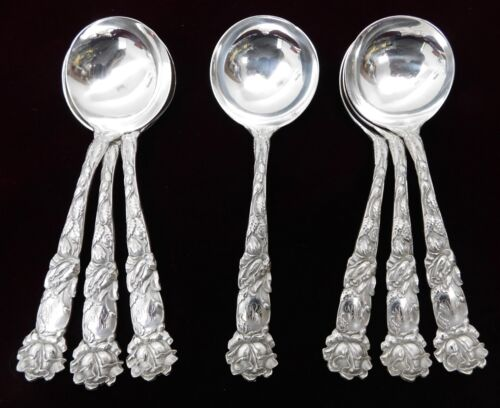 (7)  Alvin Bridal Rose Sterling Silver Bouillon Soup Spoons - Estate - J1100