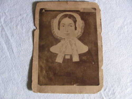 """AAFA 10""""x7"""" 18c. Folk Art Primitive Girl Painting,Early First Type Photographed"""