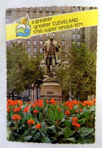 Uncirculated Greater Cleveland General Moses Statue 1971 Souvenir Postcard Rare