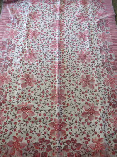 VINTAGE RUGS or COVERLETS Coral Floral 2 FABRIC Crafts 54 x 78 CHIC COUNTRY