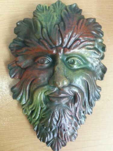 """Green Man Leaf Face 13"""" Tree Man Mythical God wall Sculpture"""