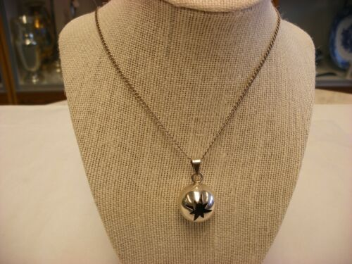 Vtg Necklace Sterling Silver Star Cut Sphere Pendant Marked Mexico 925 TC-2 #148