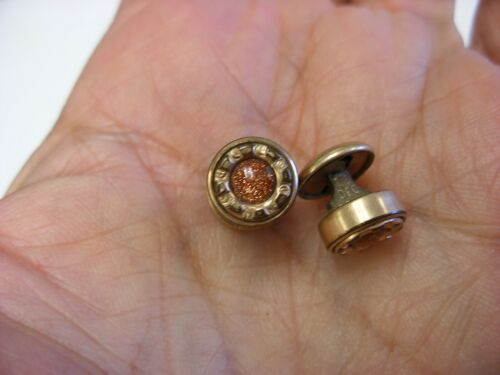 Antique Victorian Gold Stone Collar Stud Button Cufflinks #165