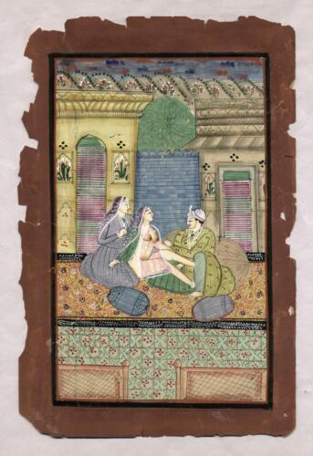 Early to Mid 19th C Persian Erotic Miniature Painting, Detailed, On Book Page