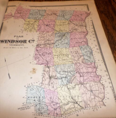 ORIGINAL 1869 MAP OF WINDSOR COUNTY VERMONT VT SHOWING VILLAGES AND HAMLETS
