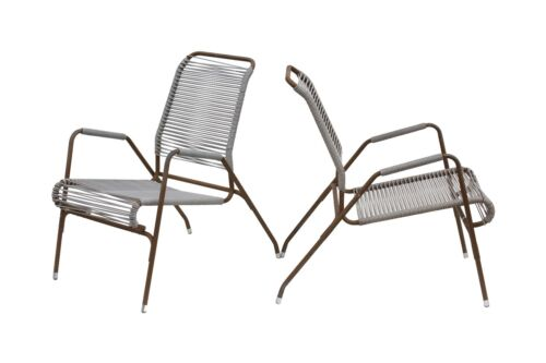 Outdoor Cord Rope Bronze Stacking Chairs after Walter Lamb Kipp Stewart Terra