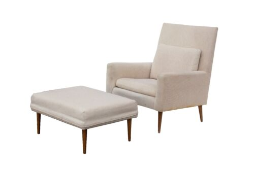 Paul McCobb Lounge Chair Model 302 and Matching Ottoman by Directional Armchair