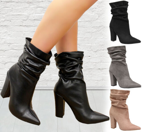 Ladies Pointed Toe Slouch Ankle Boots Womens Block Heels Calf Rouched Shoes Size