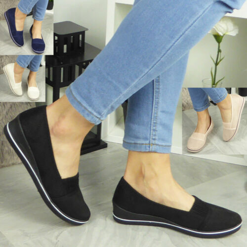 Womens Slip On Shoes Ladies Low Wedge Pumps Comfy Casual Loafers Trainers Size