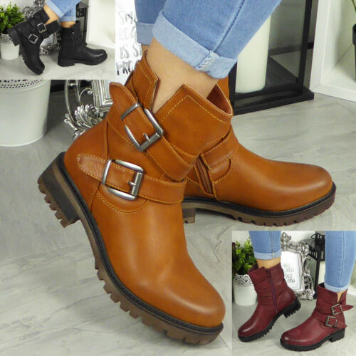 New Womens Mid Calf Ankle Boots Ladies Biker Buckle Zip Winter Casual Shoes Size