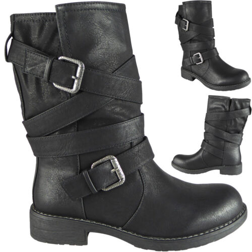 Womens Mid Calf Boots Ladies Ankle Buckle Biker Casual Strappy Low Heel Shoes Si