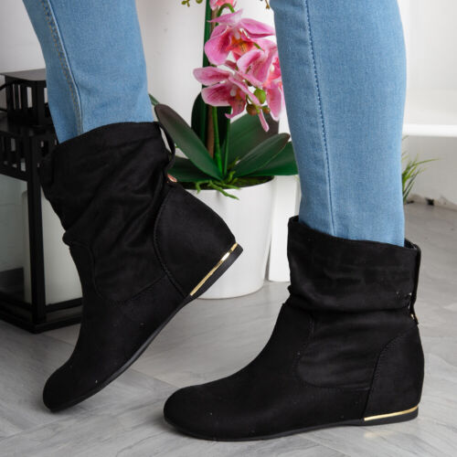 Womens Wedge Boots Ladies Hidden Faux Suede Slouch Low Heel Ankle Shoes Size