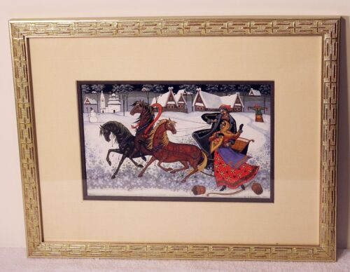 Beautiful Stylized Russian Lithograph Country Scene Very Colorful Nicely Framed