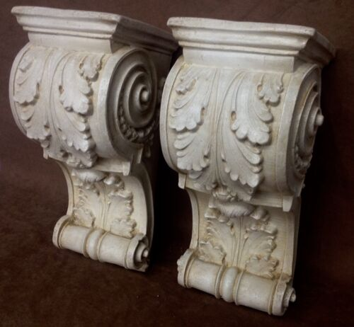 Pair Shelf Acanthus leaf Wall Corbel Sconce Bracket Architectural Accent