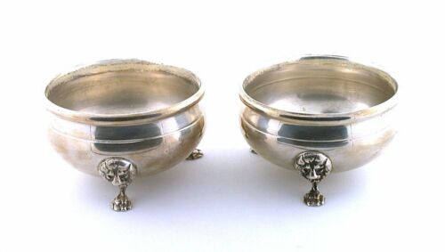 TWO 2 3/5 x 1 1/2 INCH VINTAGE PURE SOLID STERLING SILVER SALT CELLARS AS90