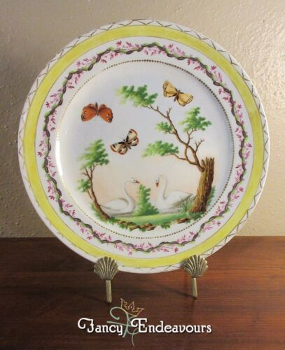 18th Century Sevres France Ornithological Plate Butterfly Moth Swans Trees