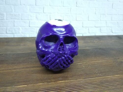 Purple Skull Skeleton Head Closed Mouth  from Billiard Ball Number 4 Carved